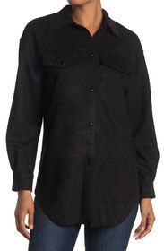 PHILOSOPHY Faux Suede Snap Front Shacket