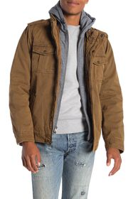 LEVIS Faux Shearling Lined Hooded Military Jacket