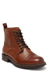 SKECHERS Ithica Cap Toe Leather Lace-Up Boot