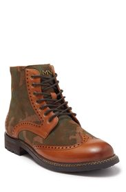 SKECHERS Ithica Wingtip Leather Lace-Up Boot
