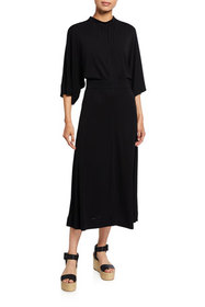 See by Chloe Midi Cowl-Neck Jersey Dress