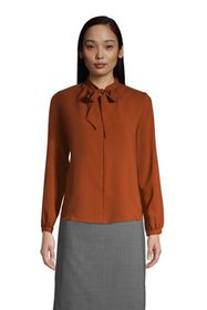 Lands End Women's Polyester Crepe Long Sleeve Tie