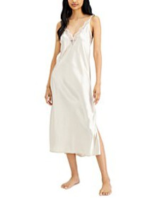 Lace-Trim Long Satin Chemise Nightgown, Created fo