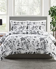 CLOSEOUT! Black and White Floral-Print 3-Pc. Comfo