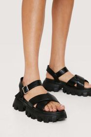 Nasty Gal Faux Leather Cross Strap Chunky Sandals