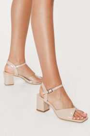 Nasty Gal Faux Leather Clear Contrast Block Heel S