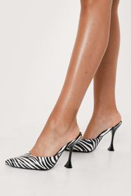 Nasty Gal Faux Leather Zebra Print Open Back Court