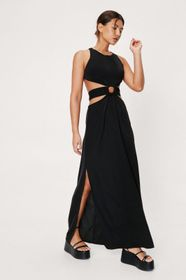 Nasty Gal Belted Cut Out Detail Racer Neck Maxi Dr