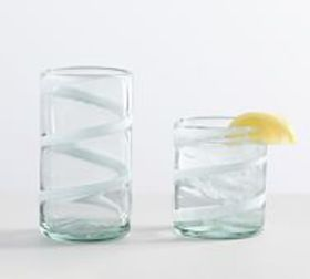 Pottery Barn White Ribbon Recycled Drinking Glasse