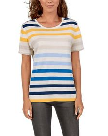 Natural Reflections Striped Crew Neck Short-Sleeve