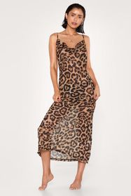 Nasty Gal Leopard Print Cowl Neck Beach Cover Up D
