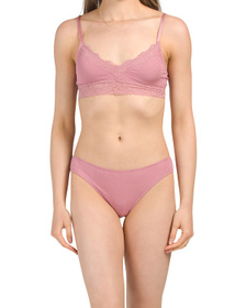 Ribbed Bralette And Bottoms With Lace Trim Collect