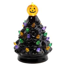 5.5in. Halloween Black LED Tree with Pumpkin Toppe