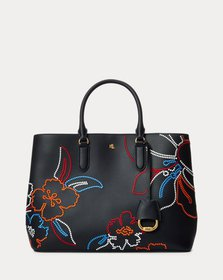 Ralph Lauren Embroidered Leather Large Marcy Satch