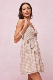 Nasty Gal Checked Cowl Front Mini Skater Dress