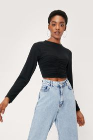 Nasty Gal Ruched Crew Neck Long Sleeve Crop Top