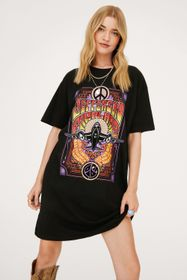 Nasty Gal Jefferson Airplane Oversized Graphic T-S