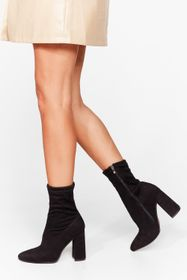 Nasty Gal Wide Fit Heeled Sock Boots