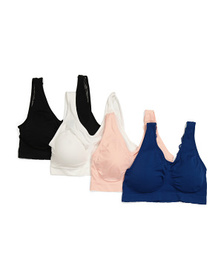 Plus 4pk Seamless Comfort Bras With Lace