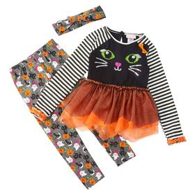 Girls (4-6x) Little Lass 2pc. Cat Top with Tulle a