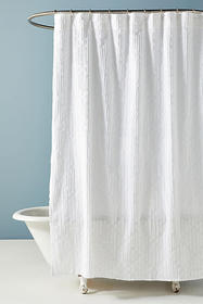 Anthropologie Clipped Jacquard Shower Curtain