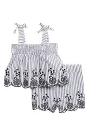 QUILTEX Striped Embroidered Scallop Top & Shorts S