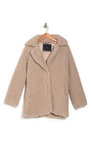 LUCKY BRAND Faux Shearling Snap Button Coat