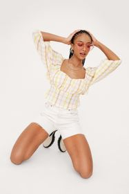 Nasty Gal Textured Check Tie Back Top