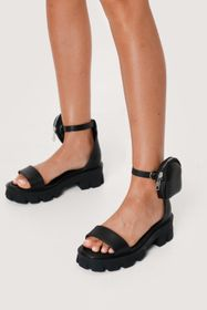 Nasty Gal Faux Leather Stash Bag Chunky Sandals