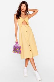 Nasty Gal Cut Out Bow Linen Midi Dress
