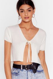 Nasty Gal Short Sleeve Tie Front Cropped Cardigan