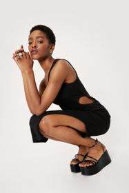 Nasty Gal Ribbed One Shoulder Cut Out Midi Dress