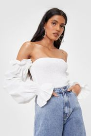 Nasty Gal Shirred Off the Shoulder Puff Sleeve Cro