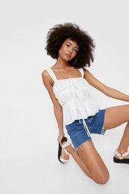 Nasty Gal Square Neck Tie Front Shirred Cami Top