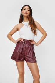 Nasty Gal Petite Faux Leather Belted Shorts