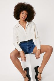 Nasty Gal Cropped Button Down Batwing Sleeve Shirt