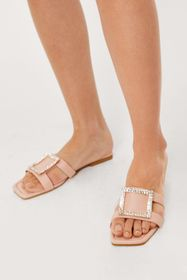 Nasty Gal Faux Leather Diamante Square Buckle Flat