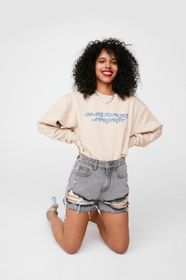 Nasty Gal Bleached Relaxed Distressed Denim Shorts