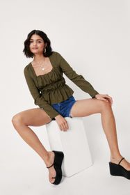 Nasty Gal Shirred Square Neck Cropped Blouse