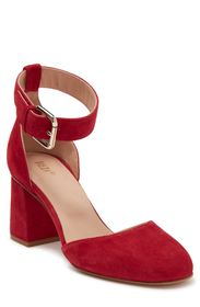 RED VALENTINO Ankle Strap Leather Block Heel Pump