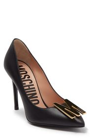 MOSCHINO Pointed Toe Brand Logo Accented Pump (Wom