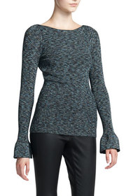 Theory Boat-Neck Cabled Print Pullover