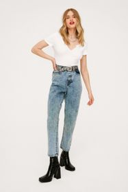 Nasty Gal High Waisted Tapered Cropped Mom Jeans