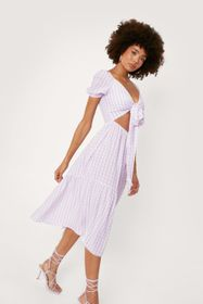 Nasty Gal Gingham Print Cut Out Tie Front Midi Dre