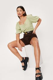 Nasty Gal Linen Look Ruched Puff Sleeve Blouse