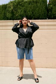 Nasty Gal Plus Size Belted Satin Wrap Blouse