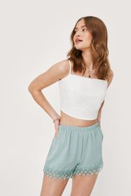 Nasty Gal Linen Look Lace Trim High Waisted Shorts