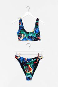 Nasty Gal Tropical Print Scoop Neck High Waisted B