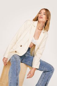 Nasty Gal Linen Look Long Sleeve Double Breasted B