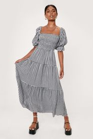Nasty Gal Gingham Puff Sleeve Tiered Maxi Dress